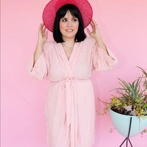 Vtg 80s 40s Vibes Textured Wrap Kimono Dress S M L